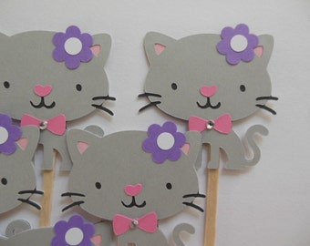 Kitty Cat Cupcake Toppers - Gray and Pink - Girl Birthday Party Decorations - Girl Baby Showers - Set of 6