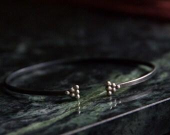 Minimalistic cuff bangle bracelet oxidized sterling silver triangle simple dainty stylish dicreet delicate