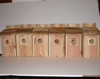 6 cedar wood Bluebird house with Cedar shake roof