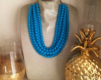 Blue Bead Necklace - Chunky Beaded Statement Necklace MultiStrand in Neon Blue