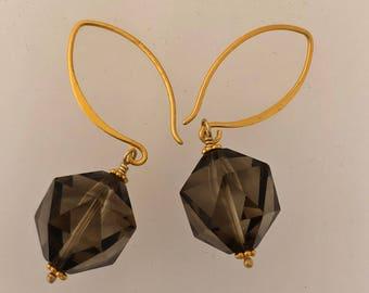 Smokey topaz gold vermeil earrings