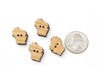 Cut Out Buttons of -YOUR STATE- in Cherry Wood. Pack of 15. Laser Cut from Sustainable Harvest Wisconsin Wood . Timber Green Woods, U.S.A!