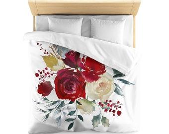 Microfiber Duvet Cover, Boho Scandi Floral Design