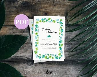 Cleo stationery - pattern Palm tree wedding stationery - model invitation customizable two-sided + program in pdf format