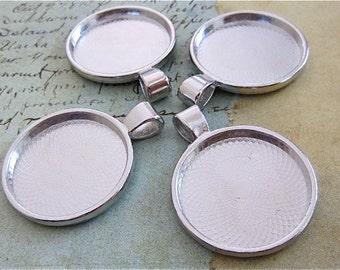 Pendant Cabochon Platinum setting - 4 - Round blanks -  Silver - Platinum color - Pendant Settings