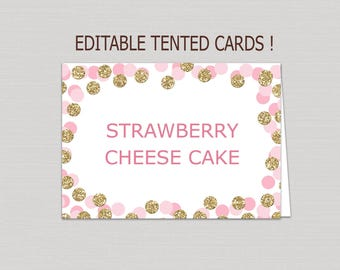 Editable Blush Pink & Gold food tent card download, food tents printable, buffet cards, gold food tent card, gold confetti place cards B14