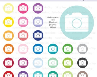 Round Camera Icon Digital Clipart in Rainbow Colors - Instant download PNG files