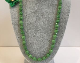 Green Turquoise Necklace - gemstone, sterling silver