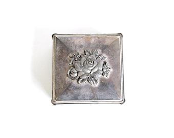 Vintage Ring Box . floral ring box . ring pillow alternative . metal jewelry box . memorial box . floral box . rose box