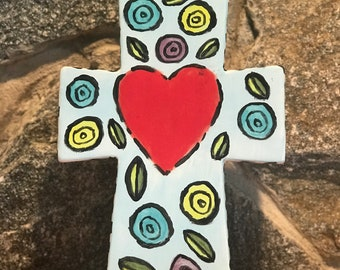 Hand Painted Standing Cross - Heart and Flowers