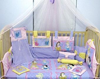 Princess Cinderella, Snow, Aurora, Belle 14 Piece Baby Bedding Crib Set