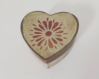 Paper Mache Vintage Red Valentine Heart Box