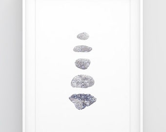 Blue and grey living room decor, Zen living room art, 18x24 print, 16x20 print, 11x14 print, 8.5x11 print, A3 print, Rock print Pebble decor