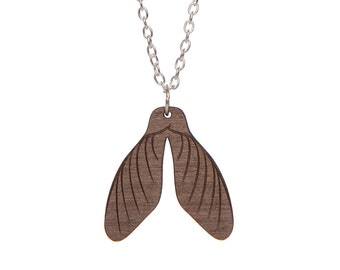 Sycamore Seed Necklace - laser cut walnut wood