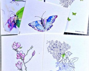 Lente kaarten. 5 voor de prijs van 4. Vlindertjes. seringen. Bloesem. Handgeschilderde kaart.