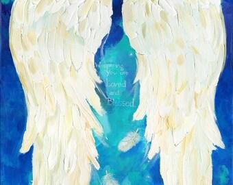 Angel Wings Print of my Original Angelwings Painting Blue Wings