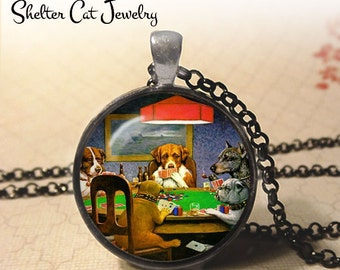 "Dogs Playing Poker Necklace - C. M. Coolidge Necklace - 1-1/4"" Circle Pendant or Key Ring - Photo Art Jewelry - Famous Painting Art Gift"