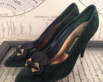 Vintage Great Gatsby Style // Jazz Age Style // Roaring 20s Style // Vintage Heels // Imperial Emerald Green Pumps 7 7.5