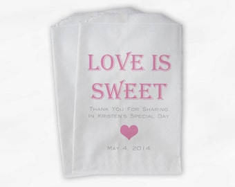 Love Is Sweet Candy Buffet Treat Bags - Personalized Bridal Shower Favor Bags in Pink and Gray - 25 Custom Paper Bags (0167)