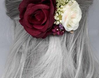 Burgundy Rose hair clip