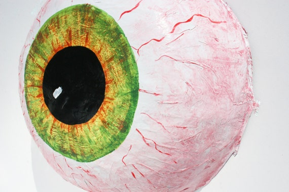 "Halloween Wreath, Halloween Decor, Large Paper Mache Eyeball, ""Wasted"" Eyeball Art"