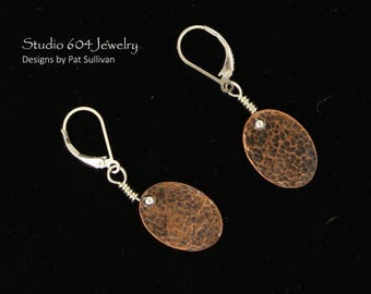 Hammered Copper Earrings - E802