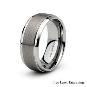 Mens Tungsten Carbide Wedding Band Brushed Polished stepped Beveled edge 9mm Mens wedding band wedding ring Anniversary rings Gray Tungsten
