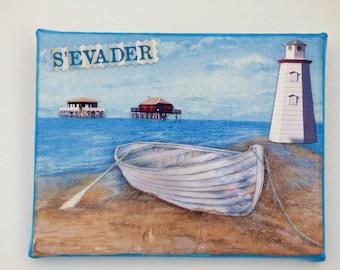 seascape painting, decoupage, 3D