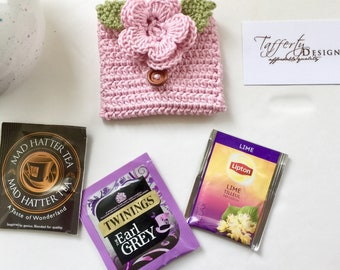 Crocheted Tea Travel Purse / Tea Purse / Tea bag Holder / Tea Wallet - in Pure Cotton - Light Pink