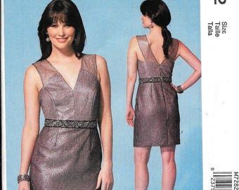 McCall's M7282 Misses Evening Dress V Neck V Back Fitted Sewing Pattern 7282 UNCUT Size 4, 6, 8, 10, 12