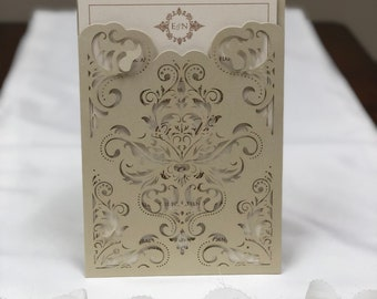 Champagne Gold Damask Laser Cut Wedding Invitations Pocket Wedding invitation Die Cut Laser Cut Shimmer Laser Cut Wedding