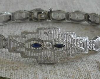 10Kt white gold & diamond Art Deco 1920s filigree bracelet