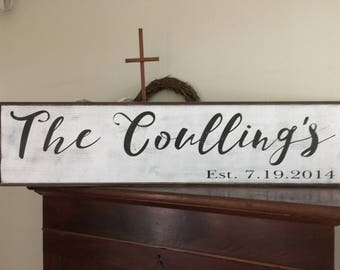 Family name sign, Extra Large Name Sign, 40x9.25 Sign framed, Personalized, Wood Custom Established Sign Rustic Vintage Shabby Chic