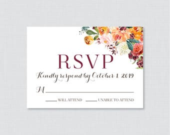 Printable OR Printed Wedding RSVP Cards - Fall Wedding RSVP Wedding Cards - Rustic Autumn Flower Response Cards, Orange Red Reply Cards 0008