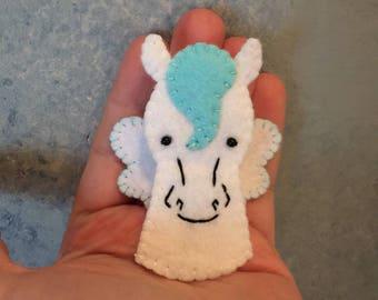 Pegasus Hand Sewn Wool Felt Finger Puppet