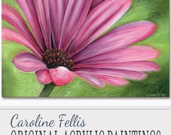 "Pink Flower Painting Cornflower Small Acrylic Painting Original Artwork Pink Charm Flower II by Caroline Fellis 12x16"" Acrylic on Canvas"