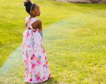 Girls Maxi Dress, Girls Summer Dress, Girls Pink Maxi Dress
