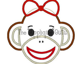 Girl Sock Monkey Applique Machine Embroidery Design