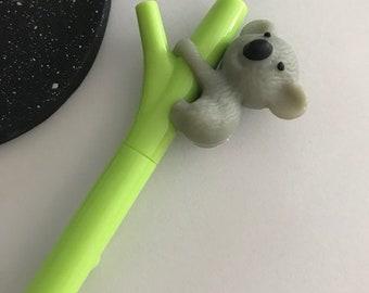 Koala Pen, Koala Stationery, Animal Pen, Cute Pen, Black Journalling Pen, Black Fineliner Pen, Koala Gift, Zoo Stationery.