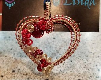 Red Woven Heart Pendant