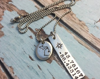 ALL 50 STATES ~ Stamped Michigan Charm Necklace - Custom GPS ~ Pewter Pebble Necklace Pebble Coordinates Latitude Longitude HarperLeeJewelry
