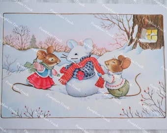 Vintage Christmas Card - Mice Building Snowman - Unused Hallmark