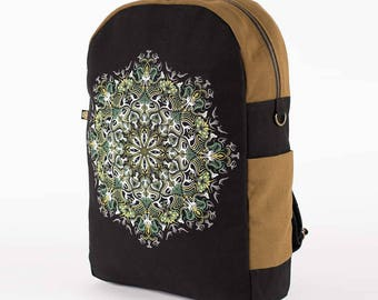 Canvas Laptop Backpack With Yoga Mandala Print, Square Backpack, Festival Backpack, Fitting 13 / 15 / 17 inch Laptops
