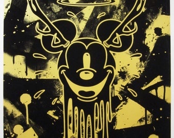 All Seeing Mickey - Black & Gold Screenprint - Limited Edition