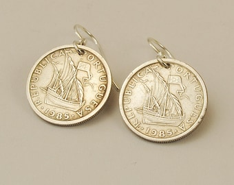 Portugal Coin Earrings 1985 Ship
