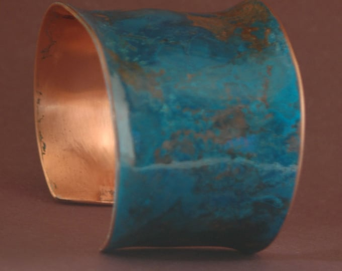 Copper Cuff-Handmade and Patinated Random Green Pure Copper Bracelet Created by Michael Ferreira on Etsy