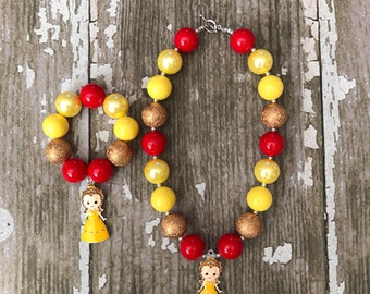 Princess Belle Necklace - Belle Bubblegum Necklace and Bracelet -Disney Beauty and the Beast Gift Girl and Adult Chunky Bead Necklace