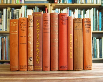 Collection of ten decorative hardcover books in orange bindings - Free US Shipping
