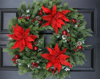 "Christmas Wreath, 24"" Poinsettia Delight  Christmas Battery Operated Wreath, Door Wreath,  Christmas Wreath"