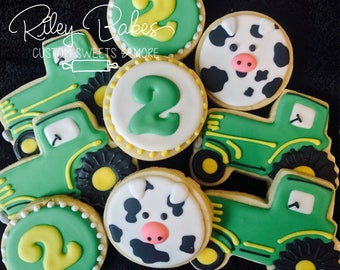 Tractor Cookies, tractor Party, Tractor Birthday Party Favors, Tractor Cake,